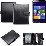 K-S-Trade Organizer und Tablet-Case-Kombination für Kiano Slimtab 8 MS mit Ringbucheinlage schwarz. Kunstleder Qualitätsware (1x)