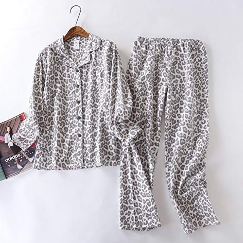 Girl Kostüm Leopard - HIUGHJ Pyjamas Leopard Pyjamas Sets Frauen 100% gebürstete Baumwolle Damen Homewear Casual Flanell Pyjama Set für Frauen