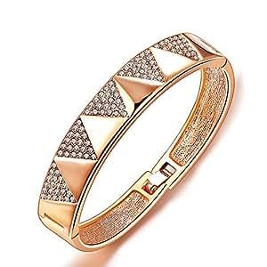 City Ouna® populaire 18K Rose Gold Plated Bracelet jonc Triangle bijoux à Angel Town liens avec cristaux de bijoux de mariage cristal pour femmes dames