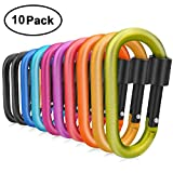 Comsmart Locking Carabiner, 10 Colors 8cm Aluminum Alloy D-ring Carabiner Clips Keyring Key Chain Clip Hook for Home, RV, Outdoor, Camping, Hiking, Traveling, Fishing, Backpack (10Pcs)