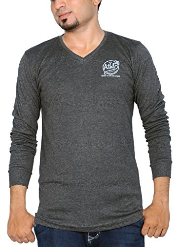 Henry Cotton Men's V Neck Full Sleeve Cotton T Shirt (Charcoal Grey_XL)  available at amazon for Rs.499