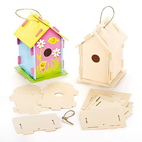 Wooden Birdhouse Kits for Children to Make Paint & Decorate - Pack of 2