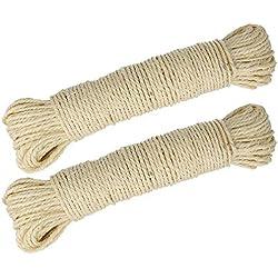 Lantelme 3975 Lot de 2x50m de corde de sisal naturel - 100m de corde au total pour griffoir, arbre à chat, etc.