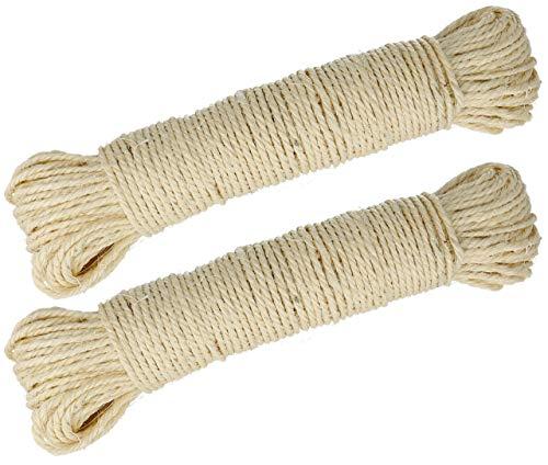 Lantelme Sisalseil 100 Meter aus 2 x 50 Meter Sisal Leine Seil Reparatur Bedarf Katzen Kratzbaum Griffoir Katzenbaum 3975