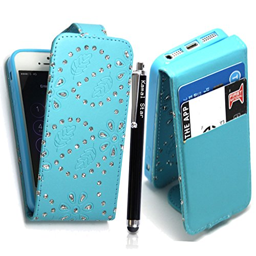 APPLE IPHONE 4 4S VARIOUS PU LEATHER MAGNETIC FLIP CASE COVER POUCH + FREE STYLUS (Ultra Slim Thin White) Sky Blue Diamond Flip