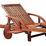 Gartenliege aus Akazienholz klappbar, Rollen und verstellbar mit Tisch von Deuba - 2