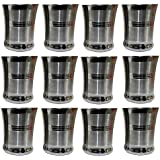 Sops Stainless Steel Tea Glass French Coffee Glass/Tumbler Drinking Glass, Set Of 12, Silver