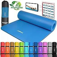 POWRX Gymnastikmatte Yogamatte Premium inkl. Tragegurt & Tasche sowie Übungsposter I Sportmatte Phthalatfrei, SGS geprüft, 183 x 60 x 1 cm I Matte hautfreundlich I versch. Farben