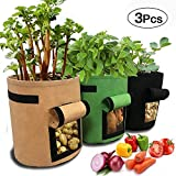 SPECOOL 3 Pack Potato Grow Bag, 7-Gallon Vecro Finestra Verdure Grow Bag, Doppio Strato in Tessuto Non Tessuto Traspirante (Marrone + Verde + Nero)