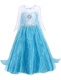 AmzBarley Disfraz Traje de Elsa Princesa Frozen Niña,Disfraz Vestido Niña Infantil Fiesta Manga Larga Ceremonia Boda,Disfraz Pincesa Nieve Blancanieves para Halloween Baile Azul 3-4 Años 110