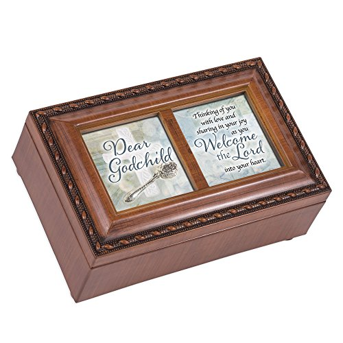 Cottage Garden Dear Patenkind mit Love Welcome Holzmaserung Seilumrandung Petite Musik Box Spielt Ave Maria (Musik-schmuck-box Für Mama)