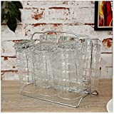 Disha Stainless Steel Glass Stand, 8X5.5X7.2, 6-Piece, Silver