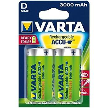 Varta Rechargeable Accu Ready2Use vorgeladnener D Mono Ni-Mh Akku (2-er Pack, 3000 mAh, wiederaufladbar ohne Memory-Effekt - sofort einsatzbereit)