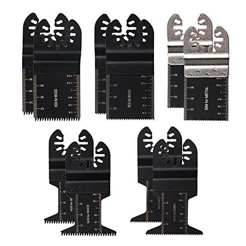 OxoxO Multitool-Sägeblätter für Fein Multimaster, Porter Cable, Black & Decker, Bosch, Dremel, Craftsman, für Holz und Metall, gemischt, 10 Stück -