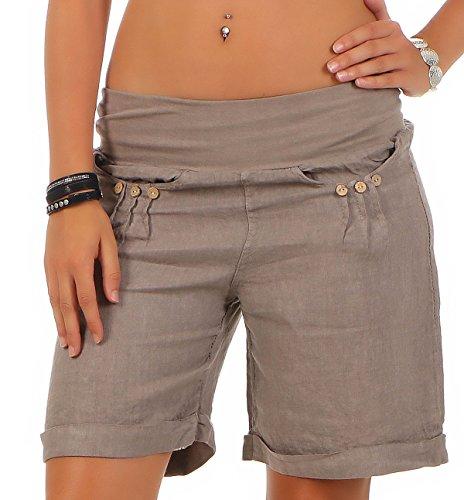 Malito Damen Bermuda aus Leinen | lässige Kurze Hose | Shorts für den Strand | Pants - Hotpants 6822 (Fango, S)