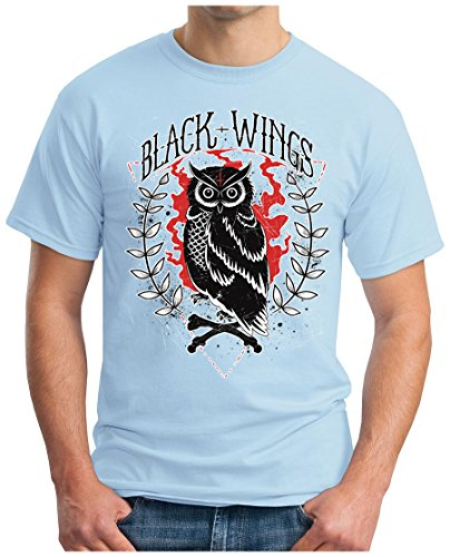 OM3 - BLACK-WINGS - T-Shirt MC SKULL BONES DEAD ROCKER BIKER CLUB 1%er BRO GEEK Himmelblau