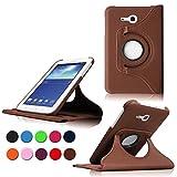 Samsung Tab 3 Lite 7.0 Case,Braun 360° Drehbares Ledertasche Schutzhülle Leder Tasche Samsung Galaxy Tab 3 Lite 7.0 T110 T111 (7 Zoll) Hülle Leder Etui Flip Case Cover mit Schwenkbar flexiblem Ständer