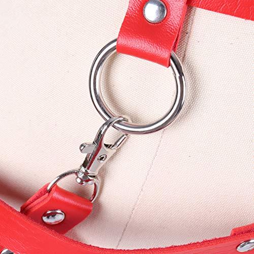 BANSSGOTH Damen PU Leder Harness Punk Karneval Taille Strapsgürtel Verstellbarer Strapsgürtel Gr. Einheitsgröße, rot - 4