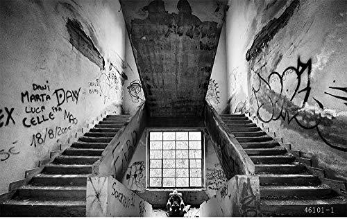 MINCOCO Benutzerdefinierte 3d Wand Backsteinmauer Graffiti Kunst Retro Industrie Altes Lager KTV Bar Sofa TV Hintergrund Zement Wandtapete, 430x300 cm (169.3 by 118.1 in)