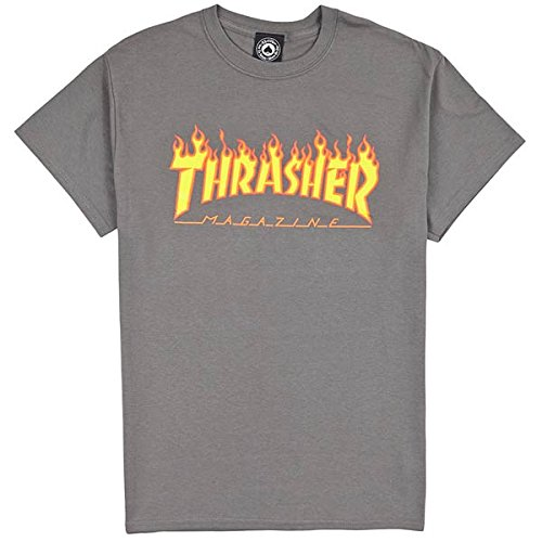 "Thrasher - THRASHER T-SHIRT FLAME ""CHarcoal"" - M"