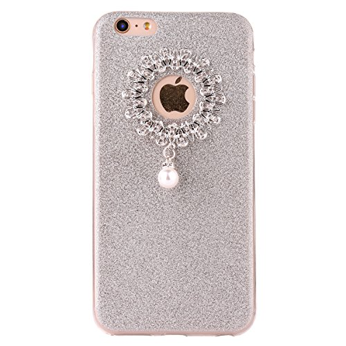 Clear Crystal Rubber Protettivo Case Skin per Apple iPhone 6/6s 4.7, CLTPY Moda Brillantini Glitter Sparkle Lustro Progettare Protezione Ultra Sottile Leggero Cover per iPhone 6,iPhone 6s + 1x Stilo  Argento 1
