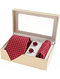 Sir Michele Designer Red Micro Silk Tie, Pocketsquare and Cufflink Set for Men (Pack of 3)