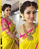 Mishty Fashion Yellow Cotton Saree With Blouse Piece
