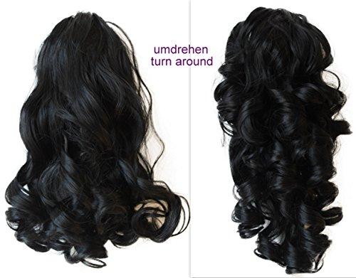 PRETTYSHOP 2 IN 1 Haarteil Pferdeschwanz Zopf Haarverlängerung Haarverdichtung ca 40cm und 50 cm schwarz #1 H1-2