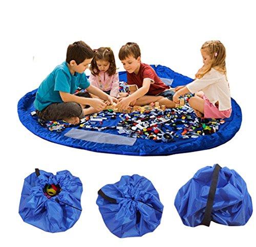 Bolsa de Almacenamiento de Juguetes, Organizador Tapete Grande A Prueba de Agua Plegable Multiusos 60 Pulgadas de Juguetes de Niños, Azul