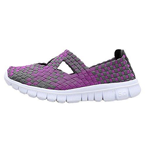 Frauen Damen Schuhe Handgemachte Elastische Gewebte Slip-On Leichte Atmungsaktive Mode Gehen Turnschuhe Decksole In Memory Foam 36-42(Lila,36 EU)