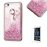 For Huawei P8 Lite(2017 Model), Funyye New Creative Floating Water Liquid Small Love Hearts Design Luxury Sparkly Lovely (Rose to Gold) Electroplate Plating Frame Crystal Design for Huawei P8 Lite(2017 Model)- Butterfly Girl