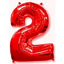 (OFERTA ANTES 5,95€) Globo número 2 rojo para fiestas de cumpleaños, XXL Medida 100 cm, inflándolo con HELIO flotará durante 5/6 días. (NÚMERO 2)