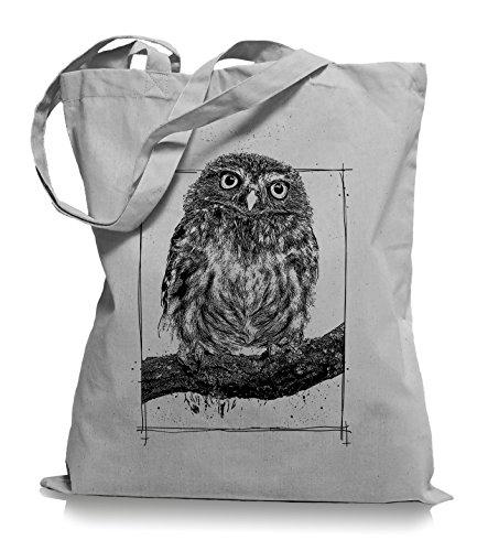 Big Owl Stoffbeutel  Eulen Eule Tragetasche Kult Light Grey