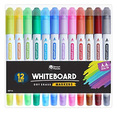Whiteboard-Marker von SmartPanda - Doppelspitze, Medium und Fein - Trocken abwischbar, perfekt für Zuhause, Schule oder Büro - 12er Set verschiedene Farben (12)