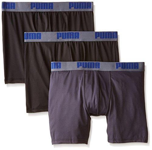 Puma Uomo Boxer Slip Volume, 3pezzi Nero/Grigio