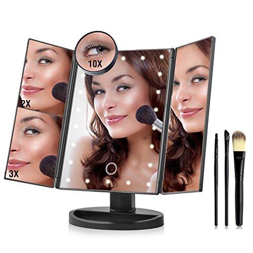 basein erleuchtet Make-up Spiegel 22LED Touch Bildschirm 1x 2x 3x 10x mit Vergrößerung Tri gefaltet Make-up Spiegel LED mit 3Make-up-Pinsel (Tri-klappe)