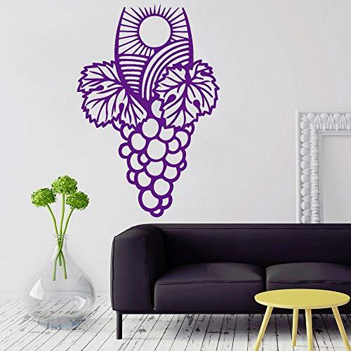 BailongXiao Weinberg Haufen Wandtattoo Trauben Wein Wein Blatt Aufkleber Wohnzimmer Dekoration Vinyl Home Interior Wandmalerei 28x42cm