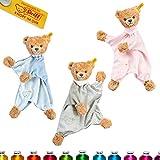 LALALO Steiff Schlaf Gut Bär Schmusetuch Bestickt mit Namen für Baby & Kinder personalisiert, Kuscheltuch, 30 cm, Mädchen / Junge (Grau)