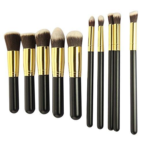 Lychee 10pcs Pinceaux de Maquillage Professionnel Brosse Souple Kit Cosmétiques à la Mode (Noir-Or)