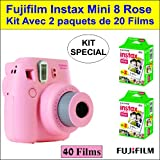 Fujifilm Instax mini 8 Rose - Kit avec 2 paquets de 20 films. Un total de 40 expositions