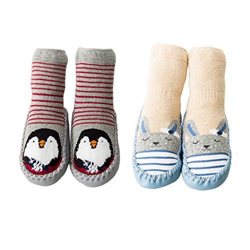 Unisex-Baby Socken Hüttenschuh Söckchen Mit Ledersohle Anti-Rutschsohle (M: 18-30 Monate, Stil-2)