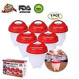 Uova fornello–Healthy & Easy Egg Maker silicone–Egglettes cuociuova antiaderente per portauovo in silicone morbido e di uova sode–senza BPA e sicuro da usare–Confezione da 6