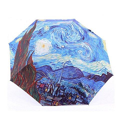 Extsud Ombrello Pieghevole Portatile da Viaggio Ombrellino da Pioggia/Sole Anti-UV Anti-Vento Capolavoro Pittura a Olio di Van Gogh 8 Stecche Rinforzate 190T Micro-Tessere di Tessuto Impermeabile Apertura Manuale (Blu)