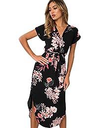 ISSHE Vestidos Largos De Mujer Vestido Cuello en V Estampados Flores Fiesta  Señora Casuales Verano Vestidos Midi Diarios Gasa… dc37a65d8dce
