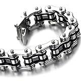 22CM Top-Qualität Herren-Armband Edelstahl Fahrradkette Motorradkette Silber Schwarz Zwei Töne Hochglanz Poliert - 4