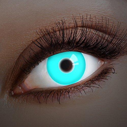 aricona Farblinsen leuchtende UV Kontaktlinsen blau Halloween Kostüm ()