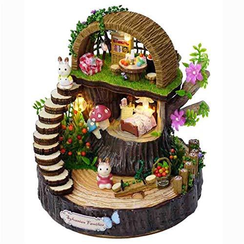 LSQR Puppenhaus Möbel DIY Miniature 3D Holz Miniaturas Dollhouse Spielzeug für Kinder Geburtstagskinder Fantasy Forest Home Dekorationen,Natural