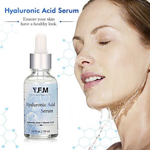 Hyaluronsäure-Serum 30ml, Y. F. M Vitamin C & E Hyaluronsäure Serum Hochdosiert, natürliche Hyaluron Anti-Aging, Anti-Age & Anti-Falten,...