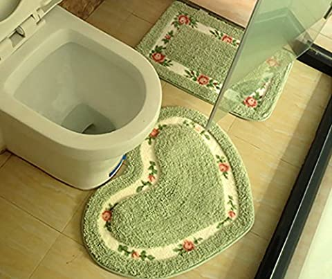 SANNIX 50*60cm Rose Flower Shaggy Area Rugs Soft Nice Doormat Floor Mat Absorbent Bath Mat Bathroom Shower Rug(1pc Love Heart