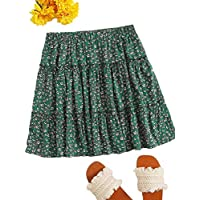 SheIn Women's Ditsy Floral Print Elastic Waist Flared Mini Skirt Green L